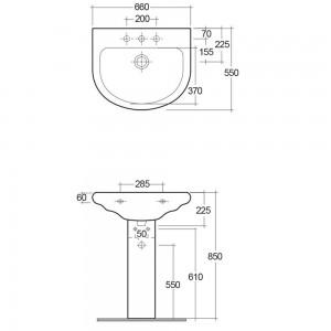 Dati tecnici lavabo Orient