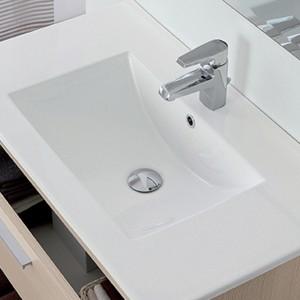 Mobile Bagno Sospeso Salvaspazio L.81 Cm In Legno Larice Con Specchio e Lavabo Feridras - 6