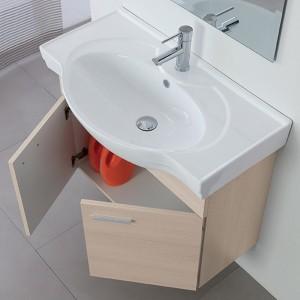 Mobile Bagno Sospeso in Legno Larice 2 Ante Lavabo e Specchio Incluso L.81 cm Feridras - 5