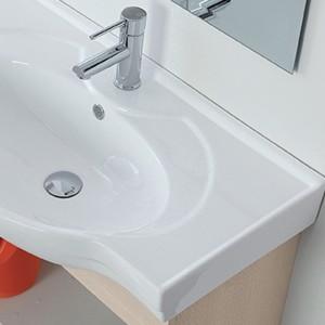 Mobile Bagno Sospeso in Legno Larice 2 Ante Lavabo e Specchio Incluso L.81 cm Feridras - 6