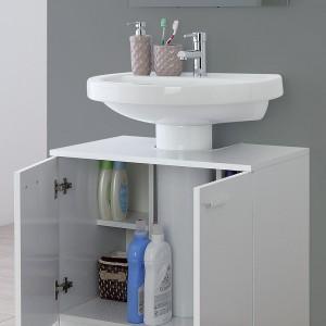 Mobile Bagno Copricolonna bianco universale con 2 ante 70x60 cm Feridras - 4