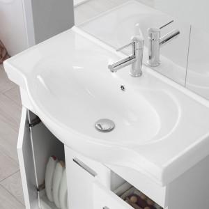 Mobile Bagno Bianco Lucido L. 82.5 cm 2 Ante, 2 Cassetti e Specchiera con Pensile e Luci Feridras - 5