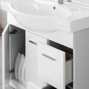 Mobile Bagno Bianco Lucido L. 82.5 cm 2 Ante, 2 Cassetti e Specchiera con Pensile e Luci Feridras - 6