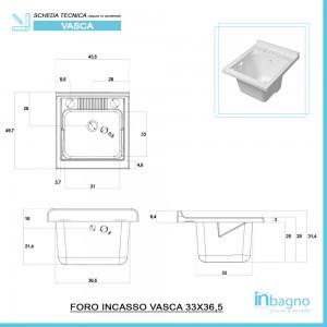 Mobile Lavatoio 1 Anta Legno Bianco 45x50 cm con Vasca in Resina e Asse Inbagno - 4