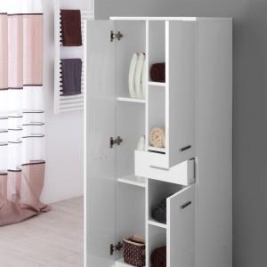 Doppia Colonna Bagno 60x148 cm colore Bianco con 3 Ante e 1 Cassetto Feridras - 4