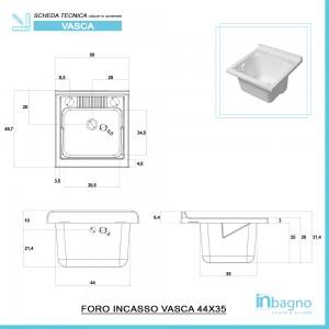Mobile Lavatoio 1 Anta Bianco Lucido 50x50 cm con Vasca in Resina e Asse Feridras - 4