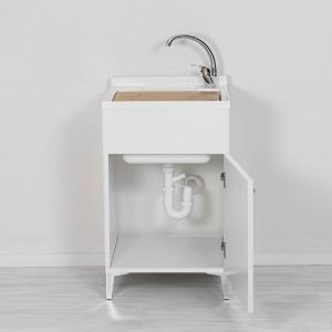 Mobile Lavatoio 1 Anta Bianco Lucido 50x50 cm con Vasca in Resina e Asse Feridras - 6