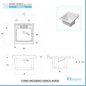 Mobile Lavatoio 1 Anta Legno Larice 50x50 cm con vasca in resina e asse Feridras - 4