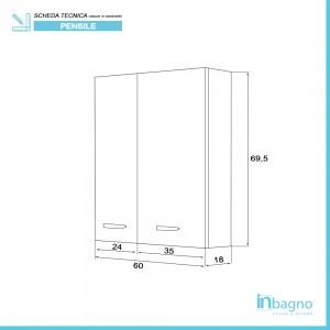 Pensile Bagno 60x70 cm colore Bianco con Ante Reversibili Feridras - 3