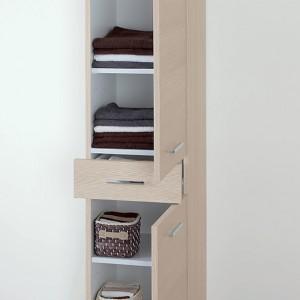Colonna Bagno 2 ante e un cassetto 35x153,5 cm colore Larice Feridras - 4
