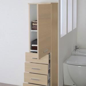 Colonna Bagno color Larice Porta Asciugamani H.154 Multiuso Con 5 Cassetti Feridras - 4