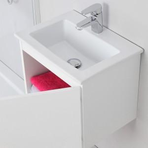 Mobile Moderno Salvaspazio Bianco Laccato 50x36,5 cm con Anta Feridras - 5