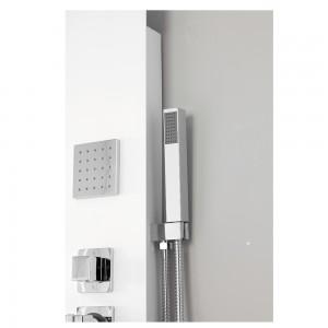Colonna Doccia Alluminio Bianco con 4 Funzioni Integrate