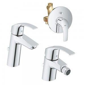 Miscelatori Grohe Eurosmart S in set lavabo bidet e doccia incasso con deviatore Grohe - 8