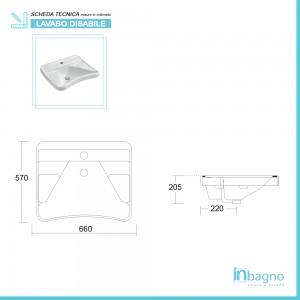 Scheda Tecnica Lavabo Sospeso da 66 cm Ergonomico Fissaggio a Parete Sanitari Disabili