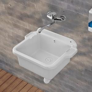Pilozzo Capiente in Resina 58x45 cm Bianco con Portasapone