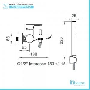 scheda tecnica Miscelatore Vasca Serie Eco Cromo completo di Doccino, Supporto e Laccio