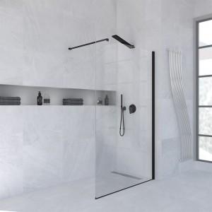 Box doccia parete 120 cm walk-in cristallo trasparente h. 200 cm e profilo Nero