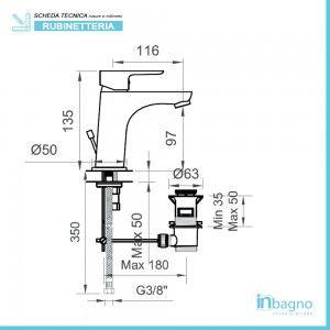 Coppia Miscelatori serie Eco Cromo Lavabo + Bidet completi di piletta Inbagno - 4