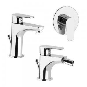 Miscelatori lavabo + bidet + doccia incasso in ottone cromato Inbagno - 9