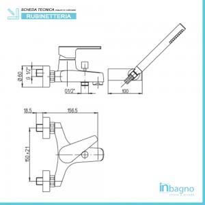 Scheda Tecnica Miscelatore  Vasca Piralla serie Baci 0CI00003A16 Completo