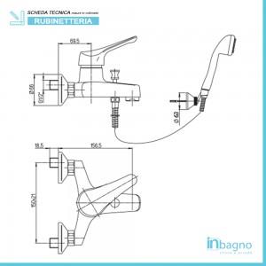 Miscelatore Vasca 0RE00003A16 Piralla Serie Ariel completo di doccino e duplex Piralla - 2