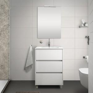 Mobile bagno a terra 60 cm bianco lucido con 3 cassettoni lavabo e specchio Saxsi