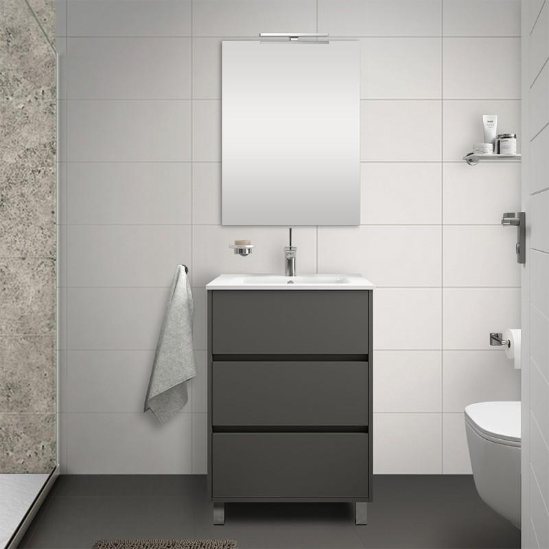 Mobile bagno a terra 60 cm grigio grafite con 3 cassettoni lavabo e specchio Saxsi