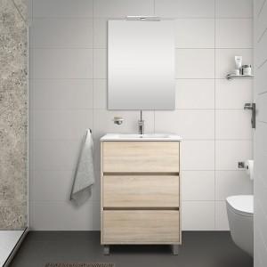 Mobile bagno a terra 60 cm rovere juta con 3 cassettoni lavabo e specchio Saxsi