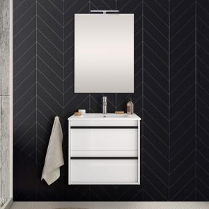 Mobile bagno da 60 cm Nilo bianco lucido con doppio cassetto lavabo e specchio