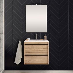Mobile bagno da 60 cm Nilo rovere oak con doppio cassetto lavabo e specchio