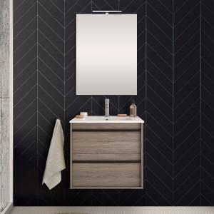 Mobile bagno da 60 cm Nilo rovere corteccia con doppio cassetto lavabo e specchio