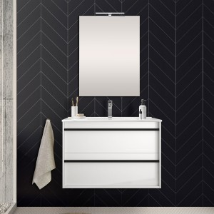 Mobile bagno da 80 cm Nilo bianco lucido con doppio cassetto lavabo e specchio