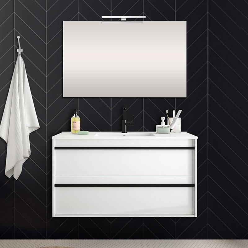 Mobile bagno da 100 cm Nilo bianco lucido con doppio cassetto lavabo e specchio