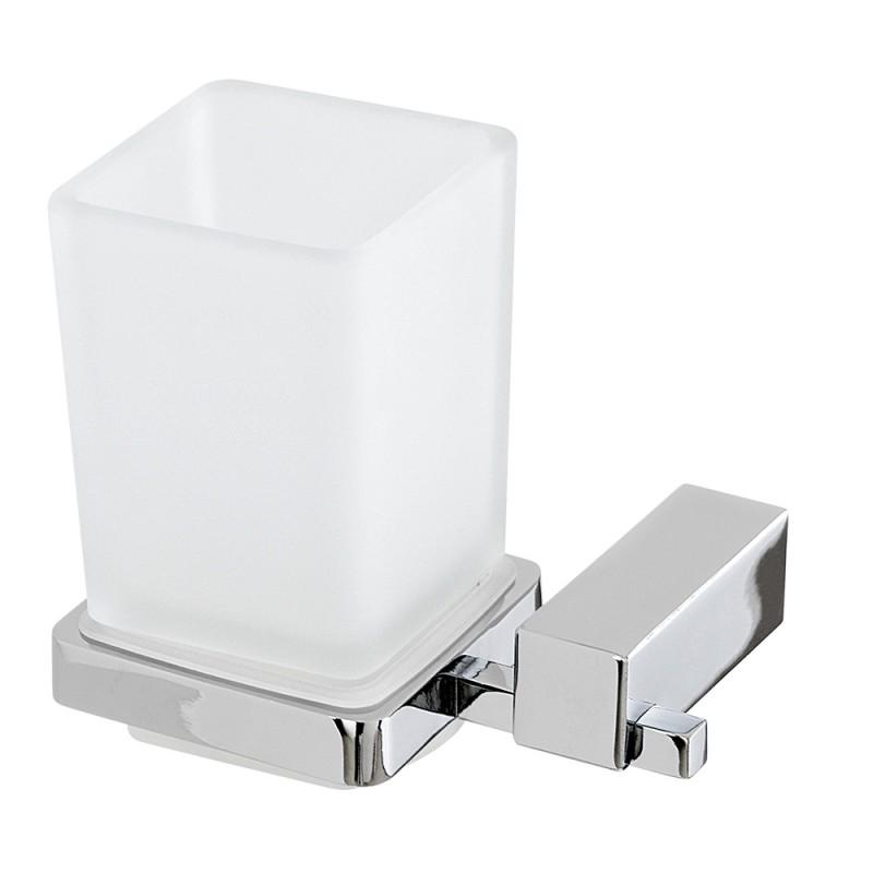 Porta Spazzolino Quadrato in Vetro Satinato e Metallo Cromato