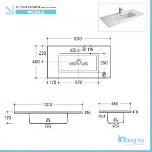 scheda tecnica lavabo Mobile bagno da 100 cm Nilo bianco lucido