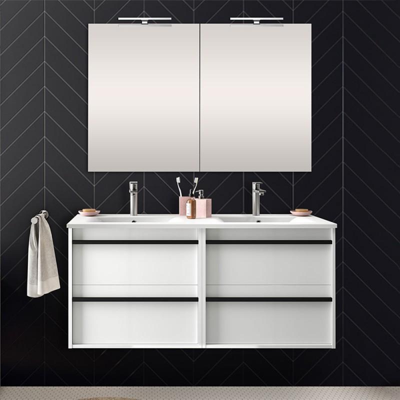 Mobile bagno da 120 cm Nilo bianco lucido con 4 cassetti lavabo e 2 specchi
