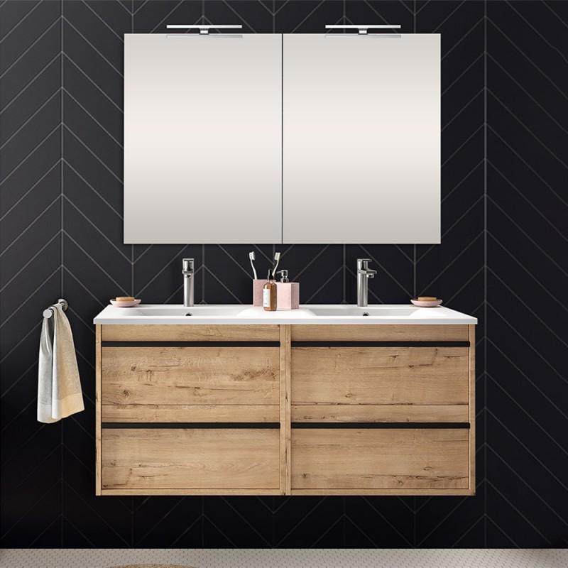 Mobile bagno da 120 cm Nilo rovere oak con 4 cassetti lavabo e 2 specchi