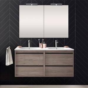 Mobile bagno da 120 cm Nilo rovere corteccia con 4 cassetti lavabo e 2 specchi