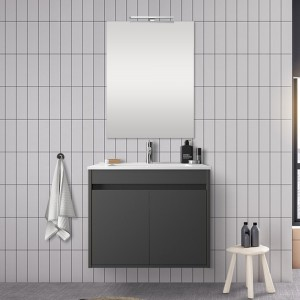 Mobile bagno 70 cm con 2 ante Mavi grigio grafite con specchio