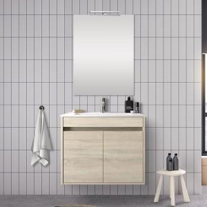 Mobile bagno 70 cm con 2 ante Mavi rovere juta con specchio