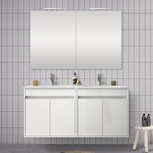 Doppio mobile da 120 cm con 4 ante, doppio lavabo e specchio Mavi bianco lucido