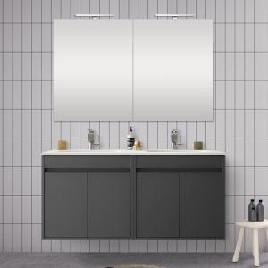 Doppio mobile da 120 cm con 4 ante, doppio lavabo e specchio Mavi grigio grafite