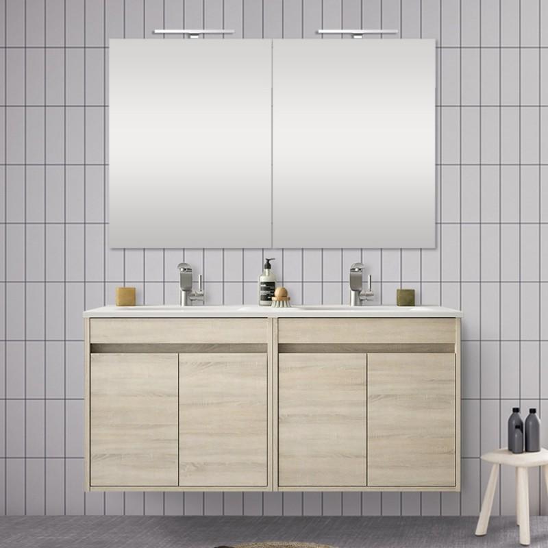 Doppio mobile da 120 cm con 4 ante, doppio lavabo e specchio Mavi rovere juta