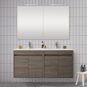 Doppio mobile da 120 cm con 4 ante, doppio lavabo e specchio Mavi rovere corteccia
