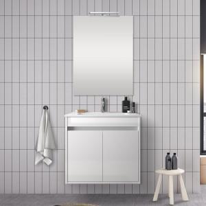 Mobile bagno 60 cm con 2 ante Mavi bianco lucido con specchio