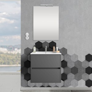 Mobile sospeso 70 cm Mavi 2 cassetti grigio grafite con lavabo e specchio