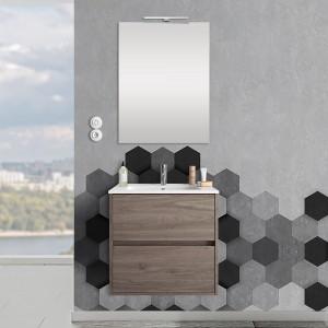 Mobile sospeso 70 cm Mavi 2 cassetti rovere corteccia con lavabo e specchio
