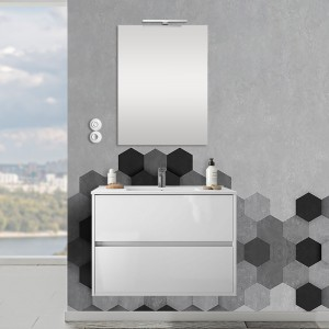 Mobile sospeso 80 cm Mavi 2 cassetti bianco lucido con lavabo e specchio