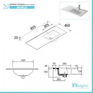 scheda tecnica lavabo Mobile sospeso 85,5 cm Mavi